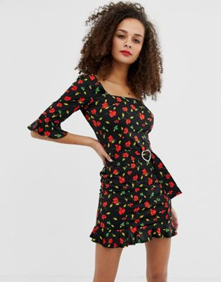 ASOS DESIGN mini dress with rhinestone buckle in floral print