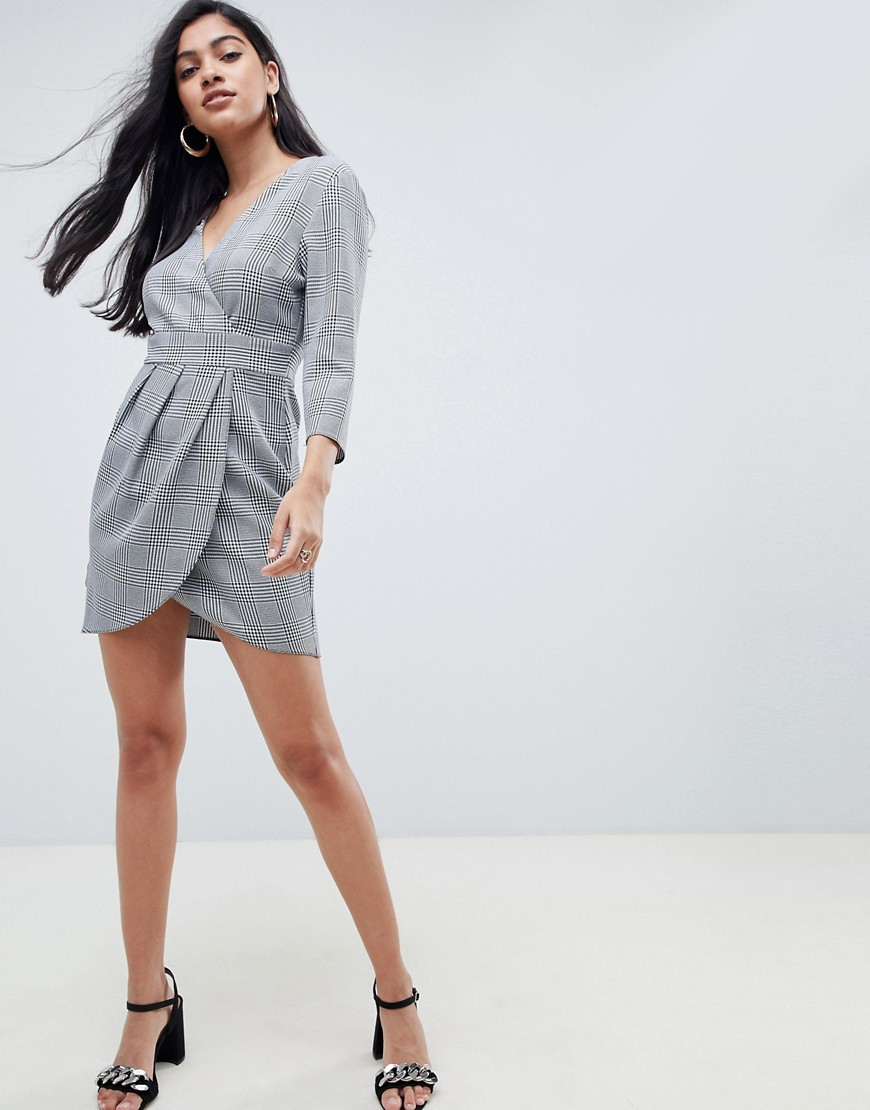 Asos Design Mini Dress With Wrap Skirt In Check by Asos Design