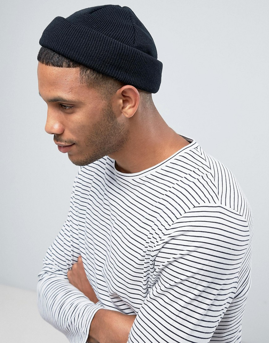 Asos Design Mini Fisherman Beanie In Black Asos