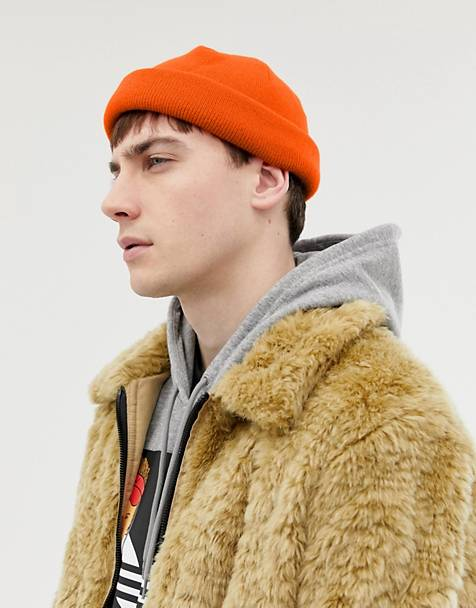 ASOS DESIGN mini fisherman beanie in orange
