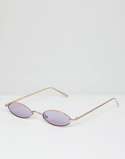 ASOS DESIGN mini oval in gold metal with lilac lens