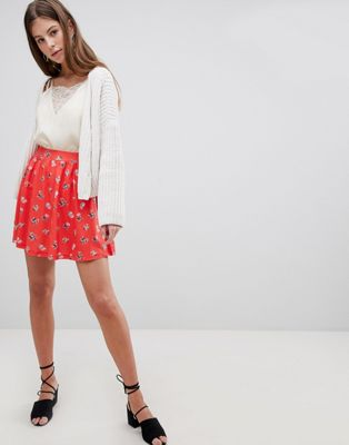 ASOS DESIGN mini skater skirt in red floral