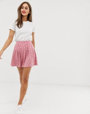 Image 1 of ASOS DESIGN mini skirt with box pleats in pink spot print