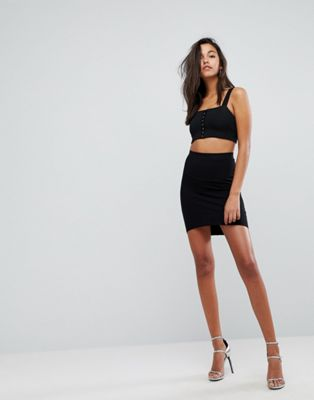 ASOS DESIGN mini skirt with curved hem