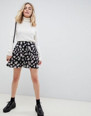 ASOS DESIGN mini skirt with waistband seam in floral print