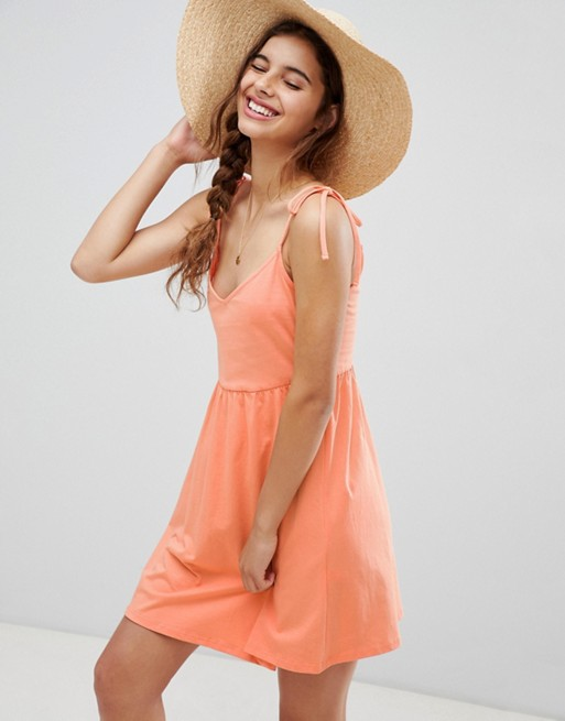 d6c865a8d43 ASOS DESIGN mini smock sundress with tie straps