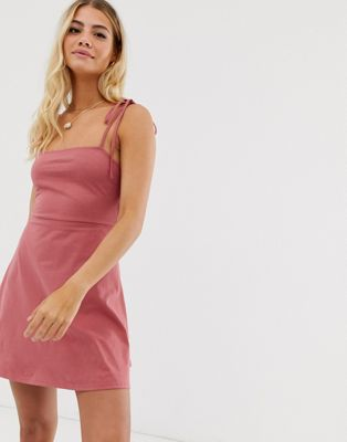 ASOS DESIGN mini square neck dress with tie straps