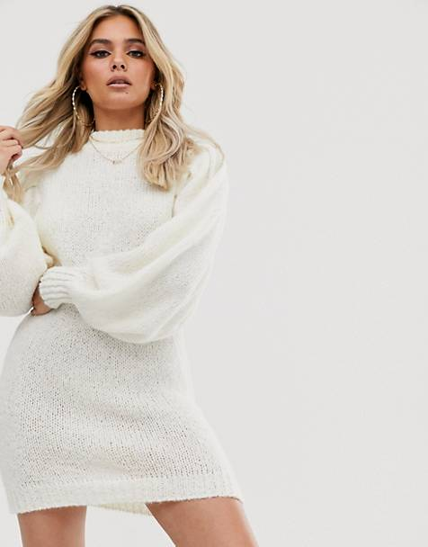 ASOS DESIGN mini sweater dress in lofty yarn with volume sleeve