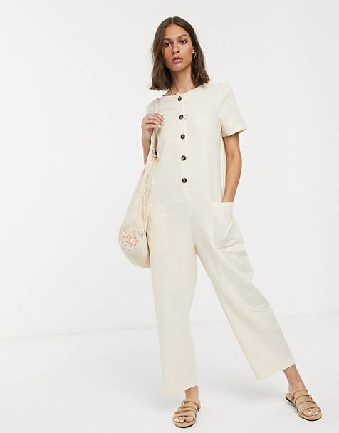 ASOS DESIGN minimal button front short sleeve boilersuit