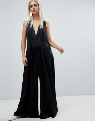 Image 1 of ASOS DESIGN minimal jumpsuit with plunge & wide leg