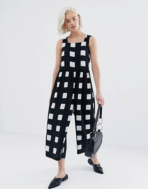 eba417f9f04 ASOS DESIGN minimal jumpsuit with ruched waist in mono check print