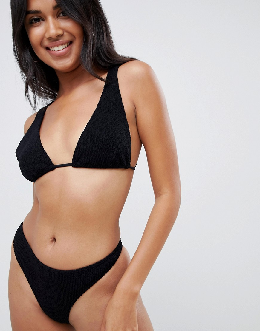 Asos Design Mix And Match Crinkle Thong Bikini Bottom In Black by Asos Design