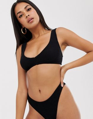 ASOS DESIGN mix and match crinkle v front crop bikini top in black