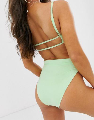 ASOS DESIGN mix and match rib high leg high waist bikini bottom in pastel mint green