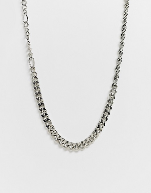 ASOS DESIGN mixed chunky chain in silver tone