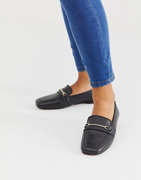 ASOS DESIGN Mocha leather loafers in black