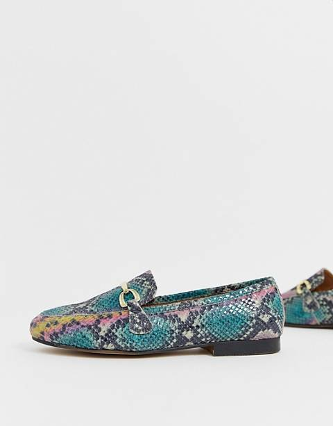 ASOS DESIGN Moment leather loafers in snake