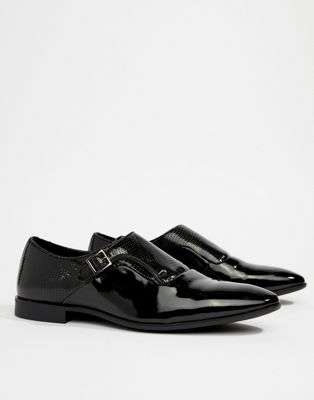 ASOS DESIGN Monk Shoes In Black Patent Faux Leather With Emboss Detail