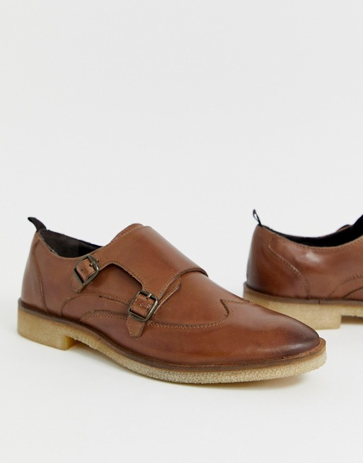 Image 1 of ASOS DESIGN monk shoes in tan leather
