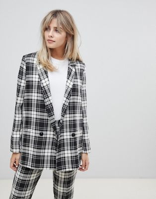 ASOS DESIGN mono check suit blazer