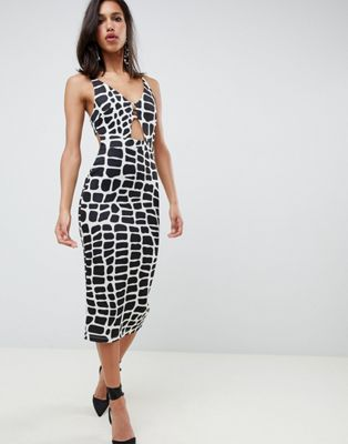 ASOS DESIGN mono print plunge bodycon midi dress