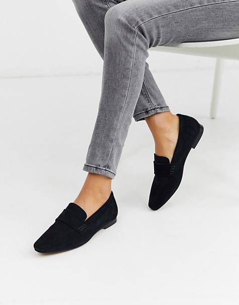 ASOS DESIGN Motion suede loafers in black