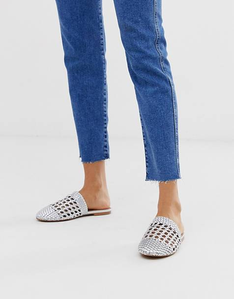 ASOS DESIGN Motto woven mules in silver