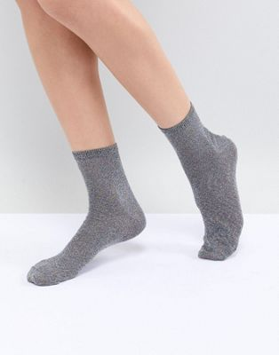 ASOS DESIGN Multi Glitter Ankle Sock