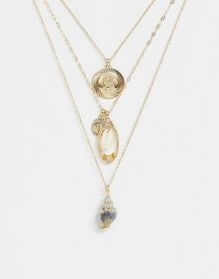 ASOS DESIGN multirow necklace with faux shell and vintage style charms in gold