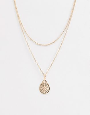 ASOS DESIGN multirow necklace with teardrop filigree pendant in gold