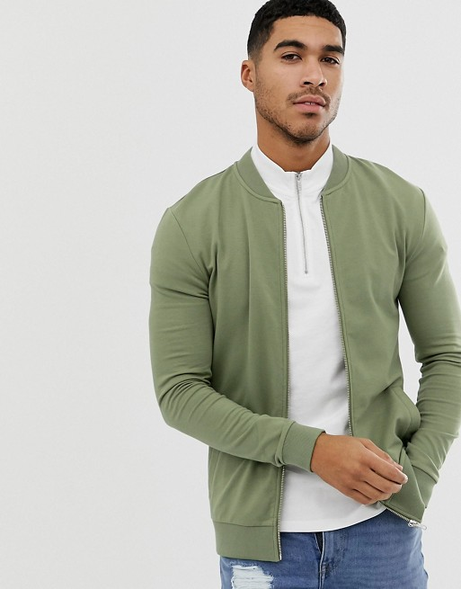 Image 1 of ASOS DESIGN muscle bomber jersey jacket in khaki
