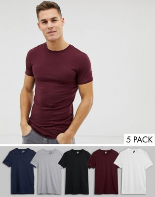 Image 1 of ASOS DESIGN muscle fit crew neck t-shirt with stretch 5 pack multipack saving