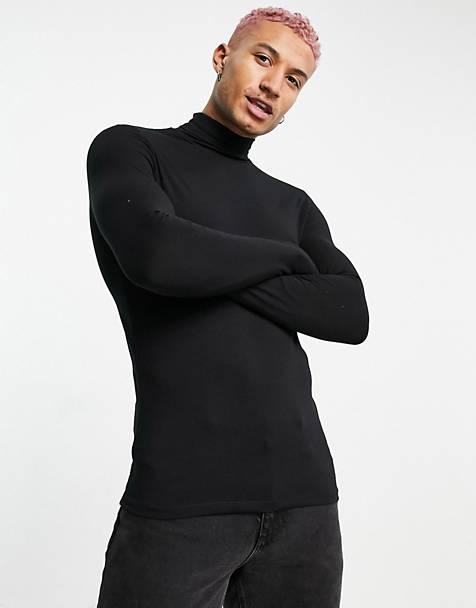 ASOS DESIGN muscle fit jersey roll neck in black