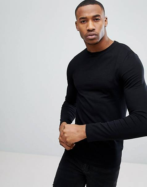 ASOS DESIGN muscle fit long sleeve crew neck t-shirt in black