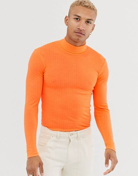 ASOS DESIGN muscle fit long sleeve roll neck t-shirt in neon orange
