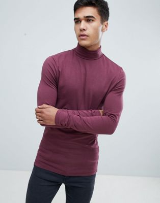 ASOS DESIGN muscle fit long sleeve t-shirt with roll neck in purple
