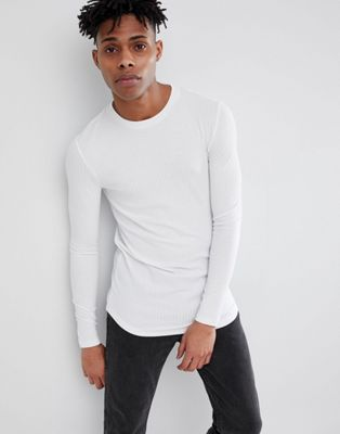 Image 1 of ASOS DESIGN muscle fit longline long sleeve t-shirt with curve hem in rib in white