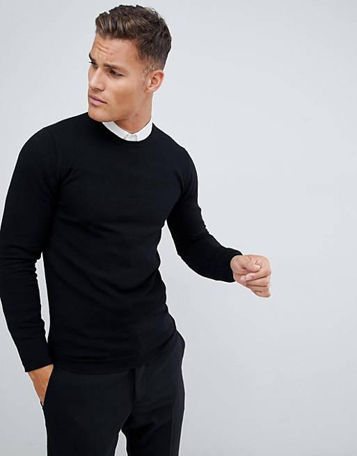 ASOS DESIGN muscle fit merino wool jumper in black