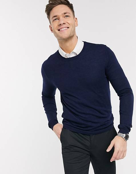 ASOS DESIGN muscle fit merino wool sweater in navy