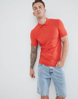 ASOS DESIGN muscle fit polo in jersey in red