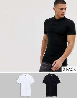 ASOS DESIGN muscle fit polo in pique 2 pack SAVE