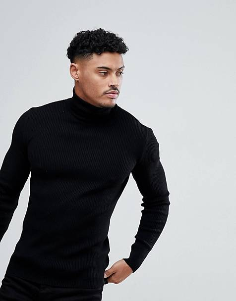 ASOS DESIGN muscle fit ribbed roll neck sweater in black