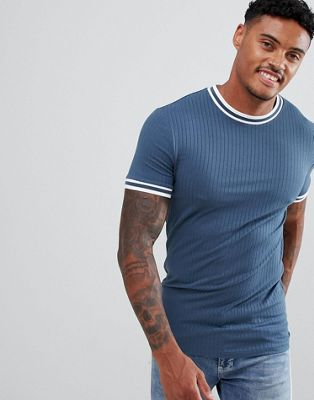 ASOS DESIGN muscle fit ribbed t-shirt with tipping