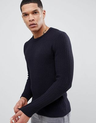 ASOS DESIGN Muscle Fit Textured Jumper In Navy