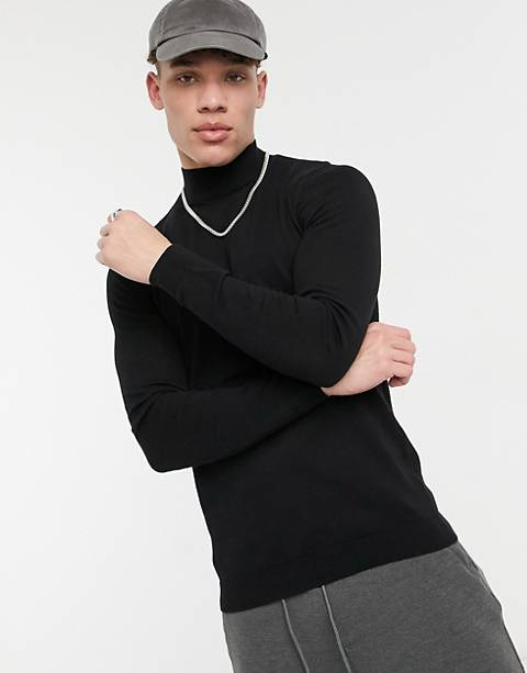 ASOS DESIGN muscle fit turtle neck jumper in black