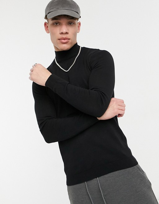 ASOS DESIGN muscle fit turtleneck sweater in black