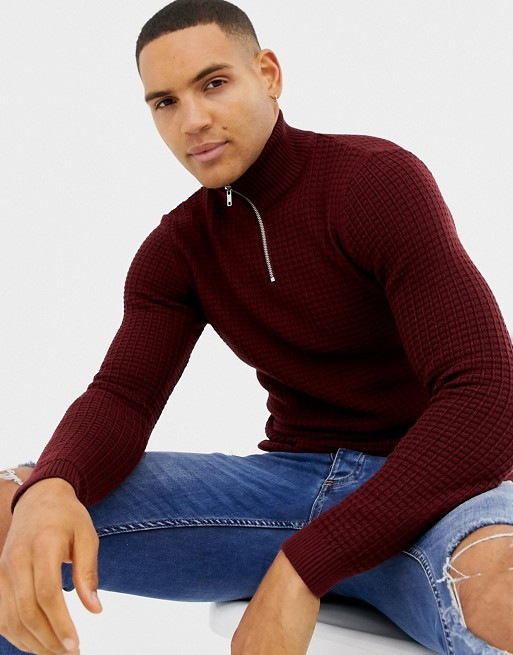 Image 1 of ASOS DESIGN muscle fit waffle textured half zip sweater in burgundy