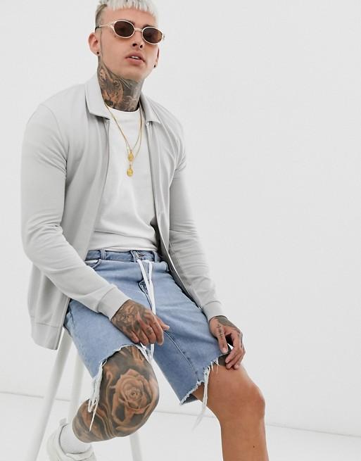 ASOS DESIGN muscle harrington jersey jacket in light gray