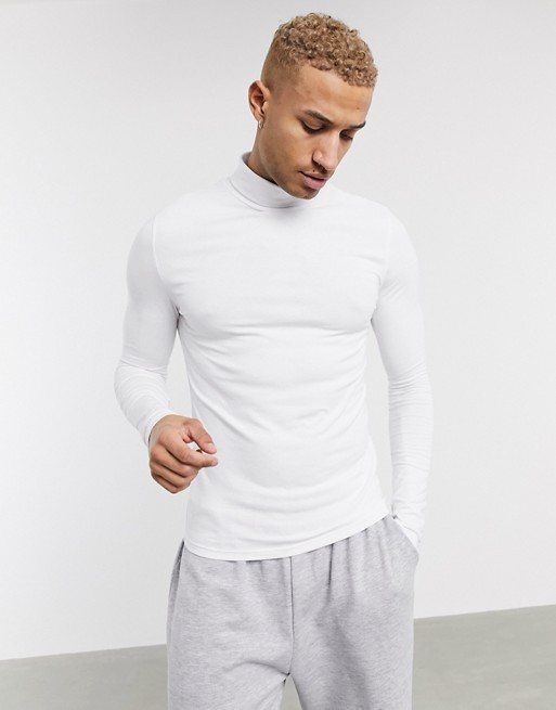 Design Muscle Long Sleeve Jersey Roll Neck In White