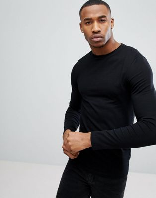 ASOS DESIGN muscle long sleeve t-shirt with crew neck in black